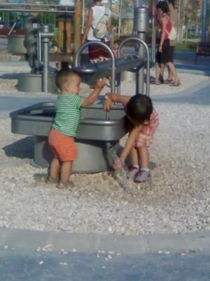 Un parque con juguetes de agua!